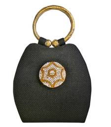 Buy Jute Bangle Bag with Diamonds and Star Brooch (Black) potli-bag online