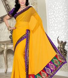 Buy Yellow Faux Chiffon Saree with Blouse chiffon-saree online