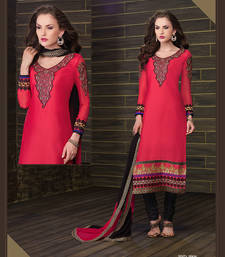 Buy Peach embroidered cotton semi-stitched salwar with dupatta cotton-salwar-kameez online