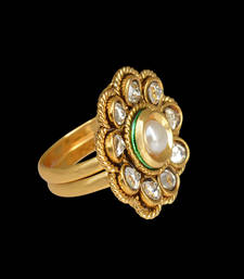 Buy Ethnic Tribal Traditional INDIA bollywood pearl polki stone Toe Ring toe-ring online