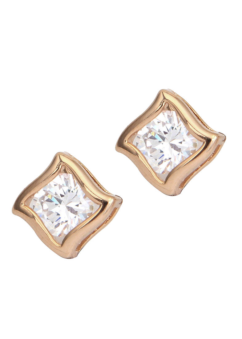 Buy 18K Gold plated diamond Square stud earrings for women line