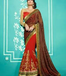 Buy Brown & Red embroidered georgette saree with blouse wedding-saree online