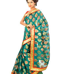 Buy Green hand woven silk saree with blouse chanderi-saree online