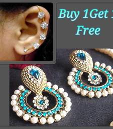 Buy Buy 1 get 1 free Sea Blue Pearl polki  earrings with Earr Cuff jewellery-combo online