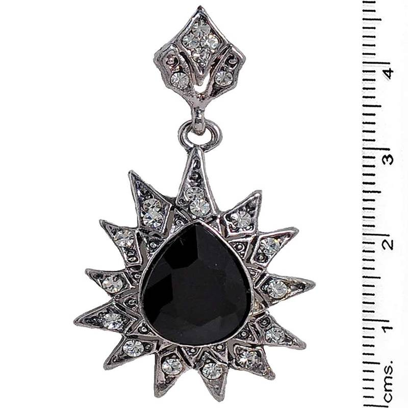 Buy exquisite black silver stone work drop earrings online for Exquisite stone