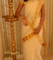 Buy Kerala Set Saree with blouse cotton-saree online