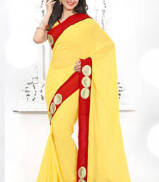 Buy Yellow embroidered Georgette saree with blouse bridal-saree online