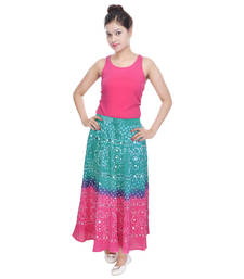Buy Green Pink Bandhani Long Skirt skirt online
