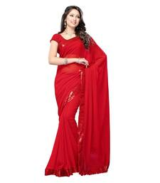 Buy Amazing bollywood actress kareena kapoor designer red colored saree in pure georgette fabric kareena-kapoor-saree online