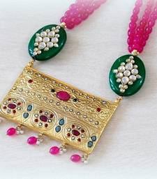 Buy ELEGANT ETHNIC RUBY EMERALD NECKLACE Necklace online