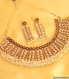 Buy Glamourous Leaf Polki & Pearl Necklace Set necklace-set online