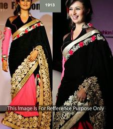 Buy BLACK and PINK embroidery georgette saree with blouse bollywood-saree online