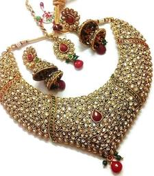Buy Bridal multicoloured Pearl Polki necklace set with maang tikka necklace-set online