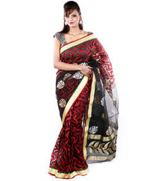 Buy Red  and  Black hand woven cotton saree with blouse cotton-saree online