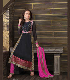 Buy Black embroidered cotton semi stitched salwar with dupatta cotton-salwar-kameez online