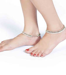 Buy White Pearls n Shiny American Diamonds Brass Payal anklet online