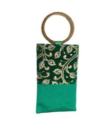 Buy Bangle Bag Silk Mobile Cover with Gold Thread Embroidey (Green) clutch online