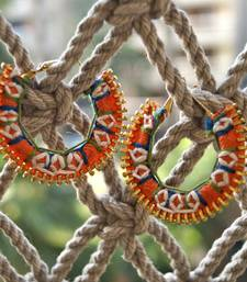 Buy hand embroidered hoops - orange hoop online