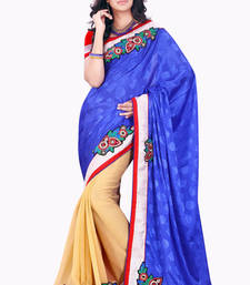 Buy Blue and Beige embroidered Jacquard and Chiffon saree with blouse wedding-saree online