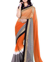 Buy Orange printed Chiffon saree with blouse printed-saree online
