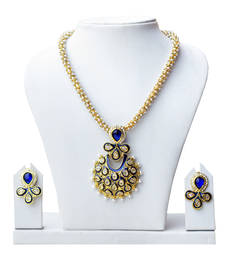 Buy Super-Lite Titanic Blue Glittering Pearl Set necklace-set online