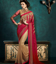 Buy Marron embroidered georgette saree with blouse party-wear-saree online