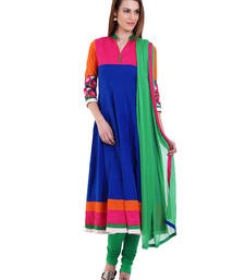 Buy ROYAL BLUE embroidered Cotton stitched salwar with dupatta readymade-suit online