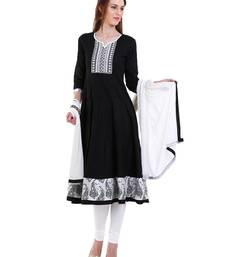 Buy BLACK embroidered Cotton stitched salwar with dupatta readymade-suit online