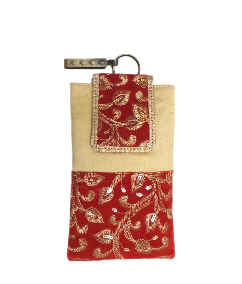 Buy Silk Mobile Cover With Gold Thread Embroidery Light