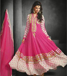 Buy Pink embroidered georgette Semi stitched salwar with dupatta eid-sarees-dress online