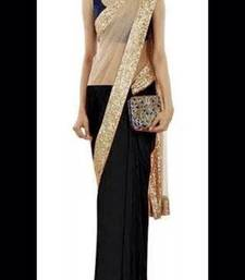 Buy Beige and Black embroidered georgette saree with blouse party-wear-saree online