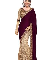Buy Magenta and Cream embroidered velvet saree with blouse party-wear-saree online