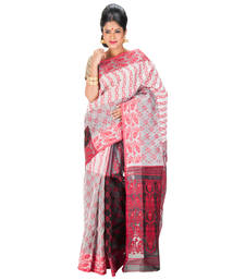 Buy RED and GREY hand woven cotton saree with blouse jamdani-saree online