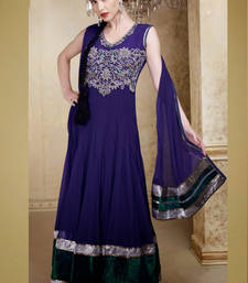 Buy Blue embroidered Net stitched salwar with dupatta readymade-suit online