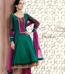 Buy Green embroidered Silk stitched salwar with dupatta readymade-suit online