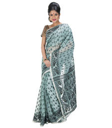 Buy LIGHT GREEN hand woven cotton saree with blouse hand-woven-saree online