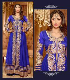 Blue embroidered net semi stitched salwar with dupatta shop online