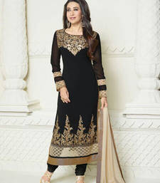 Buy black and cream embroidered georgette semi stitched salwar with dupatta pakistani-salwar-kameez online