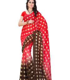 Buy Red And Brown Printed jacquard saree with blouse brasso-saree online