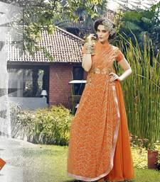 Buy Orange embroidered georgette semi stitched party-wear-gowns bridal online