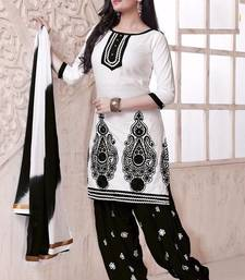 Buy Graceful Black Cotton Patiala Dress Materiall M1001-G dress-material online