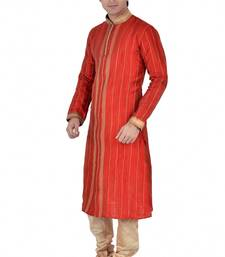 Buy Red Dupion Silk Embroidered Readymade Kurta Pajama kurta-pajama online