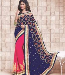 Buy Navy Blue and peach embroidered georgette saree with blouse wedding-saree online