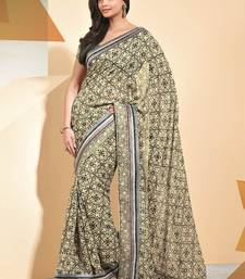Buy Beige printed linen saree with blouse party-wear-saree online