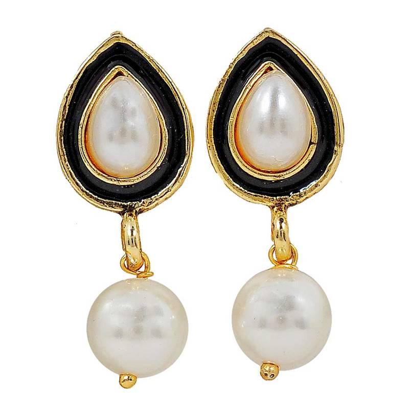 buy sober white black pearl drop earrings
