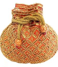 Buy Beaded Drawstring Potli/Batwa- Red potli-bag online