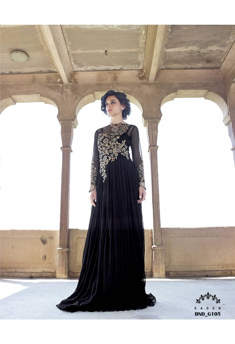 Buy black embroidered net party wear gowns online for Floor touch gown