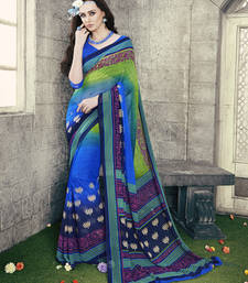 Buy green and blue printed georgette saree with blouse printed-saree online