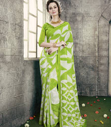 Buy green and off white printed georgette saree with blouse printed-saree online
