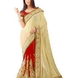 Buy Red embroidered jacquard saree with blouse viscose-saree online